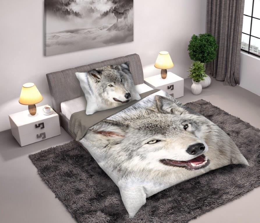Farkas 2 reszes  pamut-vászon ágyneműhuzat