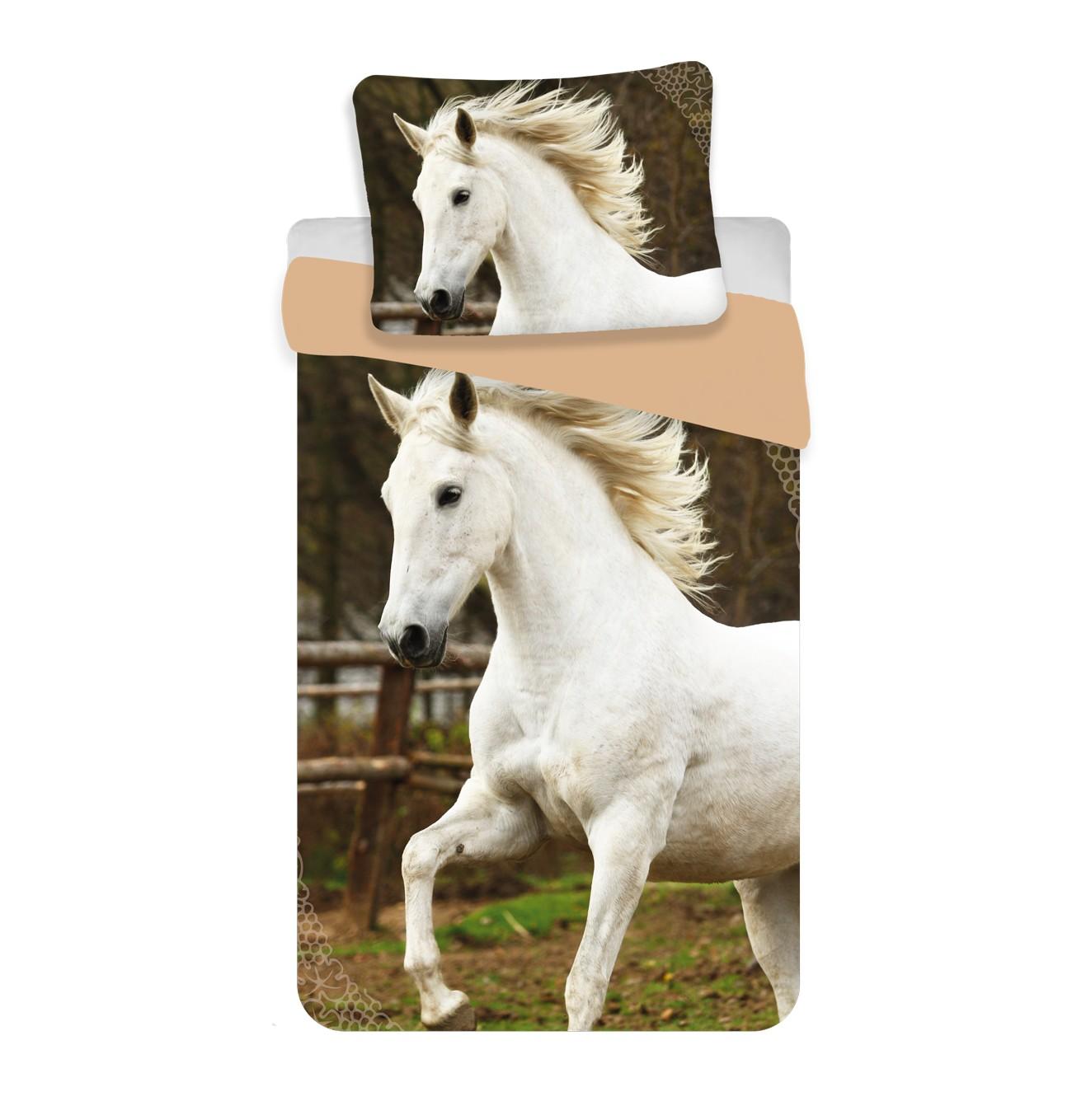 Fehér ló 2 részes pamut-vászon gyerek ágyneműhuzat