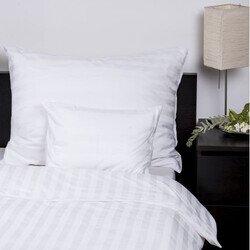 Szállodai fehér pamut-szatén csíkos 3 részes ágyneműhuzat