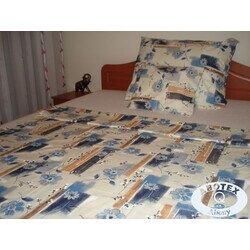 Kék virágos 3 részes pamut ágyneműhuzat