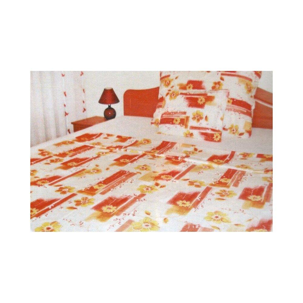 Narancs viragos 3 részes pamut ágyneműhuzat