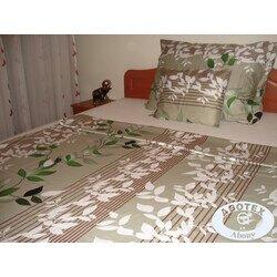 Zöld-fehér leveles 3 részes pamut-szatén ágyneműhuzat
