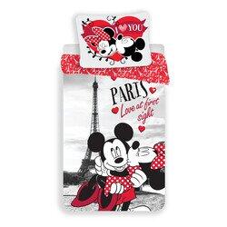 Mickey és Minnie Egér Párizs Love 2 részes pamut-vászon gyerek ágynemű