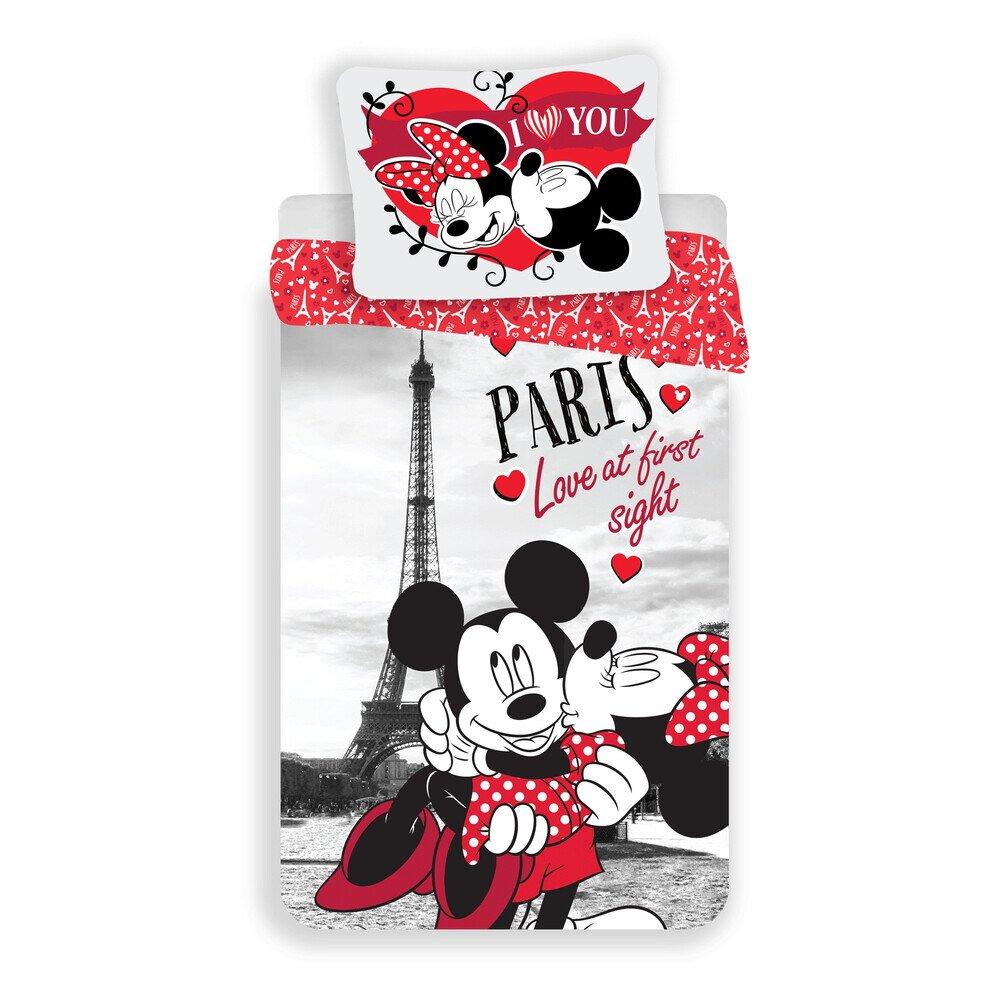 Mickey es Minnie Eger Parizs Love 2 reszes pamut-vaszon agynemuhuzat
