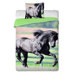 Fekete ló 2 részes pamut-vászon gyerek ágyneműhuzat