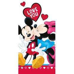 Minnie és Mickey love you pamut törölköző 70x140 cm
