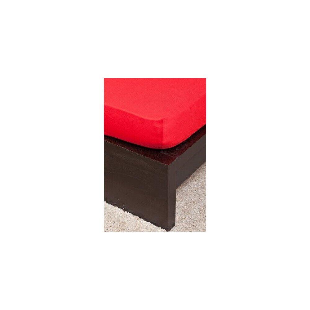 Pamut Jersey piros gumis lepedo 160x200 cm