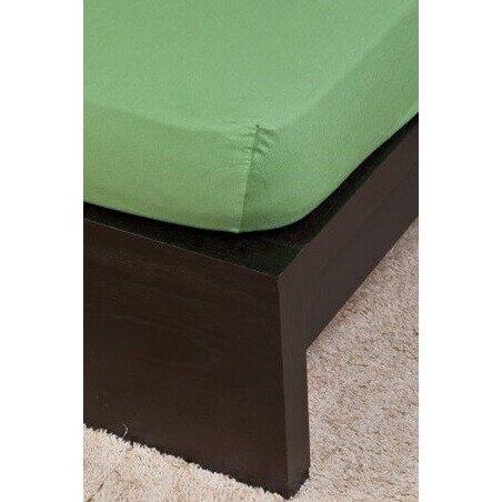 Pamut  Jersey olivazold gumis lepedo 160x200 cm