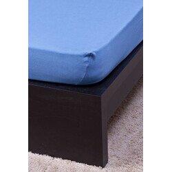 Pamut Jersey középkék gumis lepedő 160x200 cm