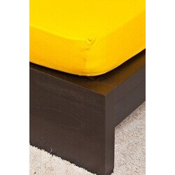 Pamut Jersey kukoricasárga gumis lepedő 200x200 cm
