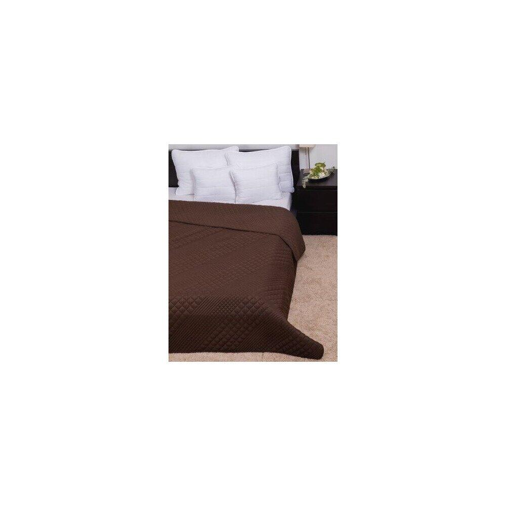 Ágytakaró Clara microfiber barna kockás szteppelt 235x250cm