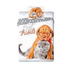 Kutya-macska baratsag 2 reszes pamut-vaszon agynemuhuzat