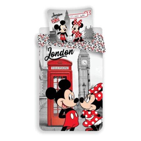 Minnie és Mickey eger Londonban 2 reszes pamut-vaszon gyerek agynemuhuzat