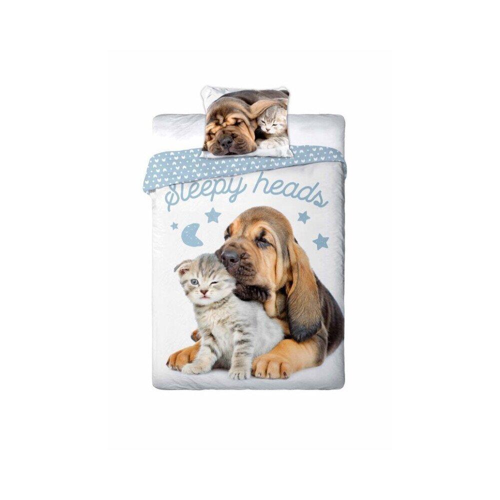 Kutya-cica alom 2 reszes pamut-vaszon agynemuhuzat