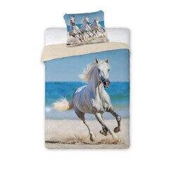 Feher lovak a tengerparton 2 reszes  pamut-vaszon agynemuhuzat