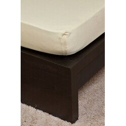 Pamut  Jersey homokbarna gumis lepedo 160x200 cm