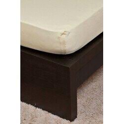 Pamut  Jersey homokbarna gumis lepedő 160x200 cm