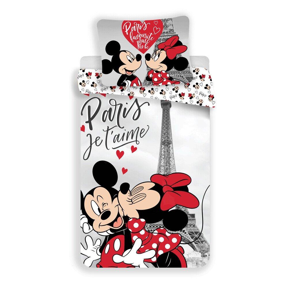 Disney Minnie és Mickey eger az Eiffel toronynal 2 reszes pamut-vaszon gyerek agynemuhuzat 50x70 cm parnahuzattal