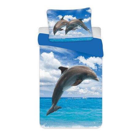Delfin 2 reszes pamut-vaszon gyerek agynemuhuzat