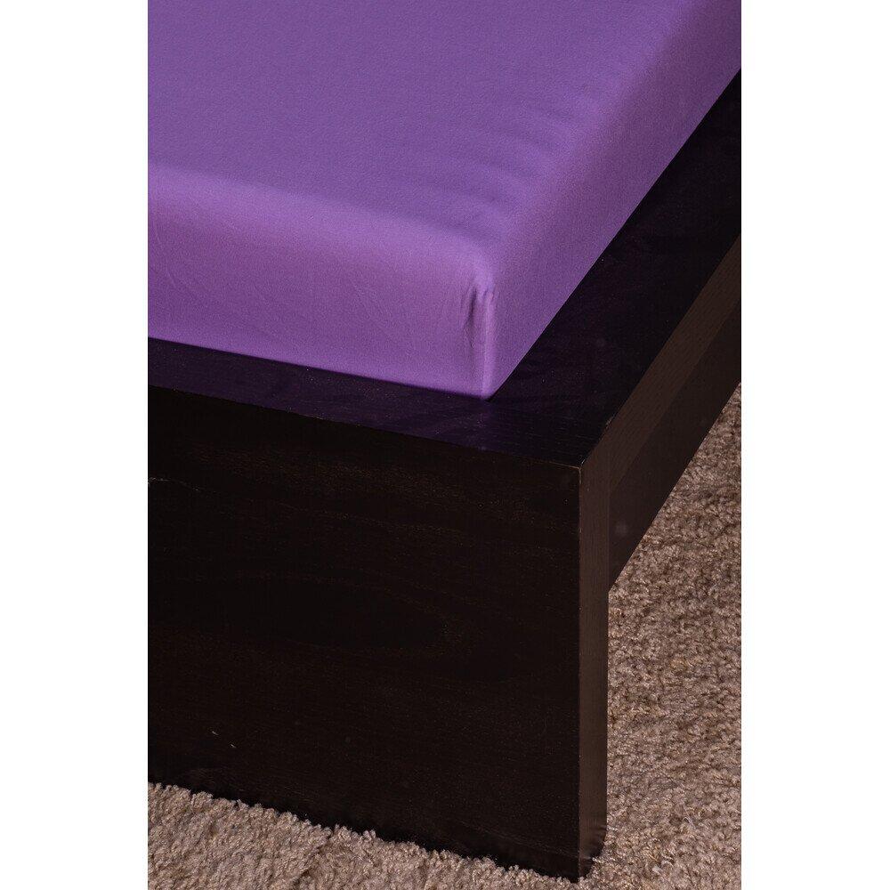 Pamut Jersey lila gumis lepedő 100x200 cm