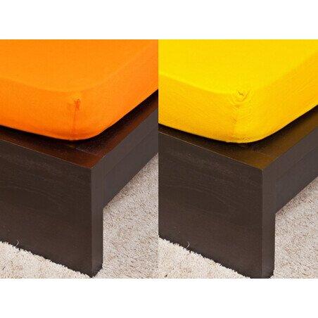 Pamut  Jersey narancsszinu  gumis lepedo 160x200 cm