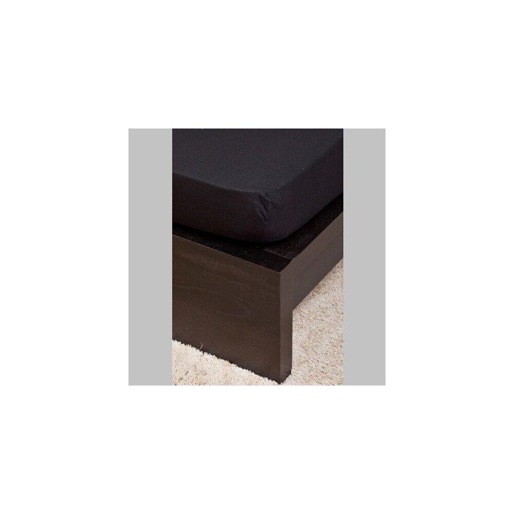 Pamut  Jersey fekete  gumis lepedo 160x200 cm